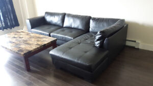 Genuine leather all black sectional couch!