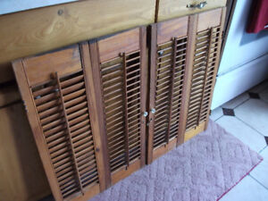 Vintage louvered Shutters  for Window ..open/shut louves..
