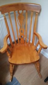 Rocking chair - traditional design - solid wood