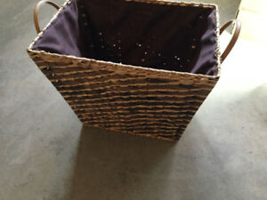 Downsizing- Christmas decorations, wicker basket, wrapping bows