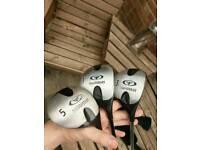Set of three thunderbird golf clubs