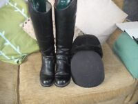 Leather Ladies Horse Riding Boots (size 5 1/2) And Horse Riding Hat (size 2/57)