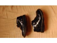 Black leather coated girls school shoes size 10