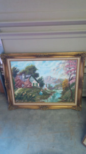 Gold framed scenery oil painting