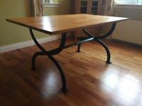 Beech Wood Dining Table with Wrought Iron Legs