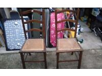 Two Chairs with Wicker Seats