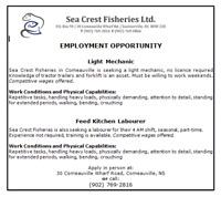 Sea Crest Fisheries - Employment Opportunity