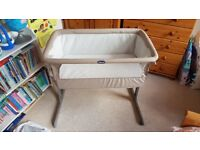 Chicco Next2me Side Baby Crib / Cot - Dove Grey with 3 mattress covers SUPERB/ AS NEW CONDITION