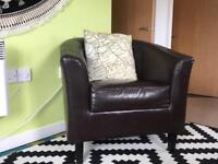 Brown/black leather arm chair