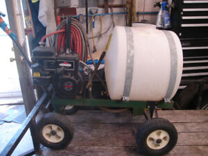 Used Mighty Mac Tow behind gas powered sprayer with tank