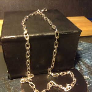 "Antique 18"" heavy sterling silver pocket watch chain."