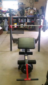 Full Gym Workout - Bench and work out bars -  includes weights