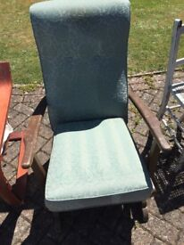 Arm chair with clever rocking device, pale green