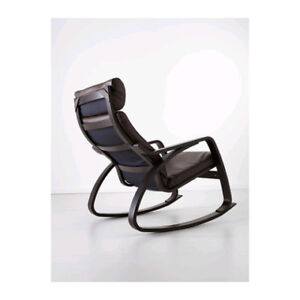 Ikea leather Poang rocking chair with foot stool