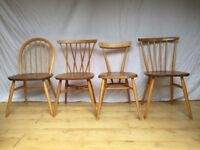 mixed set of vintage Ercol dining chairs stacking candlestick