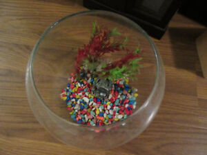 Fish bowl with gravel and decorations