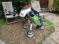 GOLF CLUBS PING HOOFER STAND AND THREE WHEEL TROLLEY