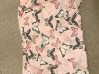 King size pink, white and grey butterfly print with two matching pillow cases