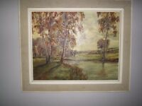 Mid century oil painting, landscape, riverscape, signed, framed 63x53cm