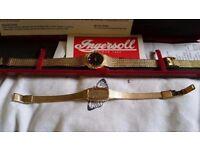 2 vintage 18k gold plated watches 1 ingersoll ladies watch & case 1970's & 1 accurist