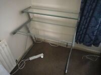 Two tier glass computer desk, used