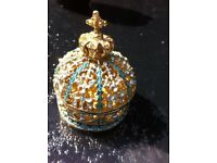 Monarch Hat Crown Crystal Bejeweled figurin Jewelry Box Trinket Collectible Gift