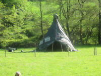 GUMBO MONSTER 6 METRE WIGWAM TIPI YURT WITH FIRE DOUBLE SKIN CAN BE LEFT UP ALL YEAR ROUND