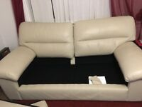 Cream leather, three seater sofa from M&S. In very good condition from pet and smoke free home.