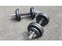 2 x 8KG DUMBBELL CAST IRON WEIGHTS SET