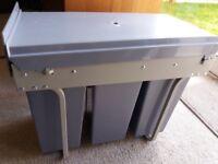 Triple built in recycling bin
