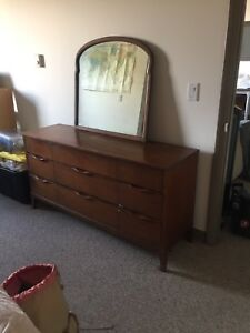 Solid wood dresser and mirror