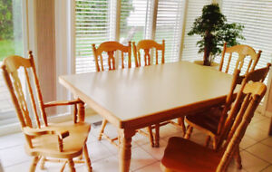 Custom Built Dining Set- Table + 6 Chairs in Solid Oak
