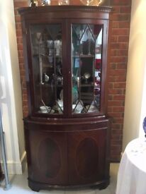 Mahogany corner display cabinet, glass display cabinet REDUCED