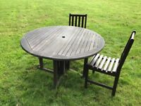 130cm Round Wooden Gate Leg Table and 4 Chairs