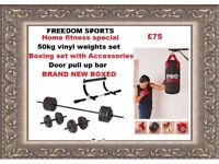 punchbag, upper body chin up bar, gloves , mitts , rope, straps , bracket and 50kg vinyl weights
