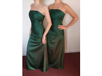 """Bridesmaid Dresses x 2, SIZE 8-10 & 10-12, 5""""6, LACE BACK, FORSET GREEN, HIGH QUALITY, DRY CLEANED"""