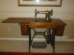 Antique Singer Sewing Machines with table