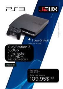 388118...CONSOLE PLAYSTATION 3....( 160 GO )....$109.95