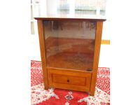 IN EXCELLENT CONDITION –INLAID YEW WOOD MEDIA CABINET (CAN DELIVER)