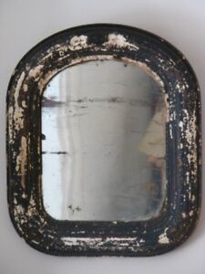 Antique Primitive Tombstone Wall Mirror, Wood Plaster Frame