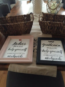 Wedding Decorations - Bathroom Gift Baskets and Signs
