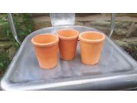 Vintage Set of 3 Three Mini Natural Terracotta Plant Pots Cactus Succulents Small