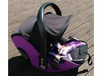 Reclining infant car seat