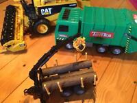 Tonka bin lorry, Bruder CAT combine harvester and log trailer
