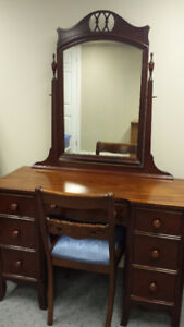 Antique Mahogany Vanity / Dresser with Chair