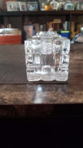 Clear Square Block Glass Candleholders