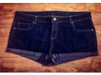 Dark Blue Denim Shorts - Size 18