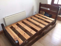 Warren Evans Quality Solid Wood Single Bed With Two Storage Drawers Underneath Plus Mattress Bargain