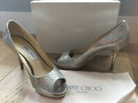 Authentic Jimmy Choo Luna glitter heels, sling-backs, peep-toes EU38.5 UK5.5-6