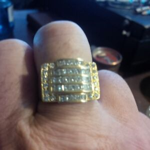 Gentlemens 18kt yellow prong and channel set cluster ring